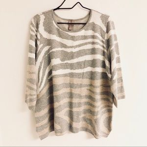 Chico's Zebra Inspired Knit Sweater Blouse